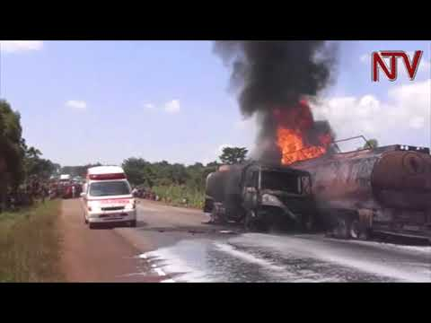 Two fuel tracks catch fire along Iganga-Bugiri high way