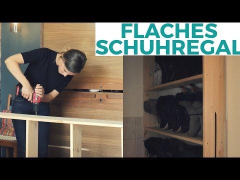 Quick & Dirty: Einfaches flaches Schuhregal aus Holz   DIY