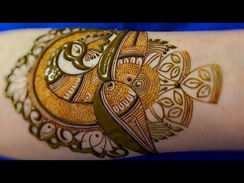 indian traditional intricate peacock mehndi design by aaru mehndi