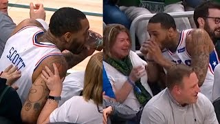 Mike Scott Dives Into the Crowd, Saves the Ball & Gets His Coca-Cola | Bucks vs Sixers