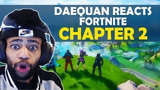 DAEQUAN REACTS FORTNITE CHAPTER 2 | FIRST WIN!
