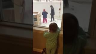 Hannah watching Dada & Ciara outside 1/7/17