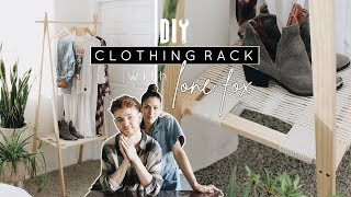 DIY Wooden Clothing Rack + Woven Shelf With LONE FOX!