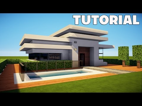 Minecraft small easy modern house mansion tutorial for Modern house minecraft pe 0 12 1