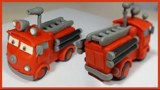 Лепим Тачку пожарную машину Шланг из пластилина.