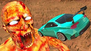 BeamNG.drive - Cars Jumping into Gaint ZOMBIE Mouth (Zombie Apocalypse)