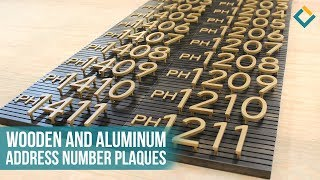 Pin-mounted Aluminum Address Numbers on Wooden Plaques