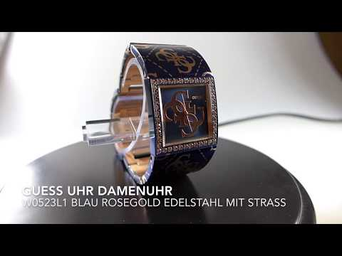 GUESS Damenuhr W0523L1 blau rosegold Edelstahl mit Strass