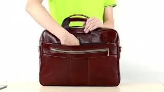 WESTAL Mens Briefcase Bag Mens Genuine Leather Laptop Bag Business Tote For Document Office Portab