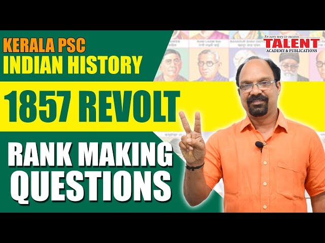 RANK MAKING QUESTIONS | 1857 Revolt (Main Centers & Leaders) | Indian History | TALENT ACADEMY