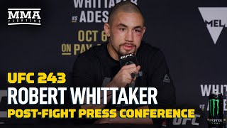 Robert Whittaker meets with reporters following his second round KO loss to Israel Adesanya at UFC 243, discuss what's next for him inside the Octagon, the gameplan his team put together, what went wrong, and more.  Subscribe: http://goo.gl/dYpsgH  Check out our full video catalog: http://goo.gl/u8VvLi Visit our playlists: http://goo.gl/eFhsvM Like MMAF on Facebook: http://goo.gl/uhdg7Z Follow on Twitter: http://goo.gl/nOATUI Read More: http://www.mmafighting.com Subscribe to the podcast: http://applepodcasts.com/mmahour  MMA Fighting is your home for exclusive interviews, live shows, and more for one of the world's fastest-growing sports. Get latest news and more here: http://www.mmafighting.com