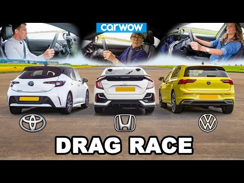 VW Golf v Toyota Corolla v Honda Civic - DRAG RACE *Mat v Mum v Girlfriend*