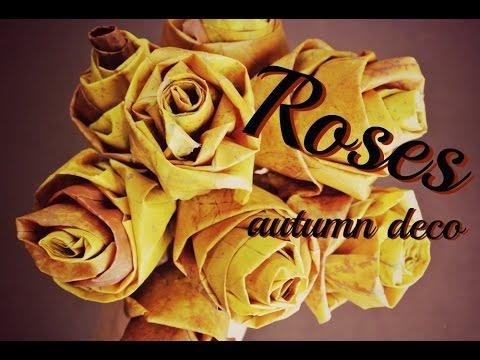 Růže z javorového listí růže z listí podzimní dekorace DiY,