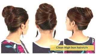 Elegant&Clean High Bun Hairstyle For Medium/Long Hair | Quick&Easy Hair Updo | Komals Hairstyle