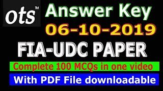 FIA Past paper UDC 06-10-2019 : Full paper in one video. PDF attached.