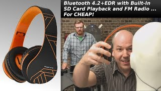 Unboxing PowerLocus Bluetooth 4.2+EDR Headphones with SD Card Playback and FM Radio for Under $30