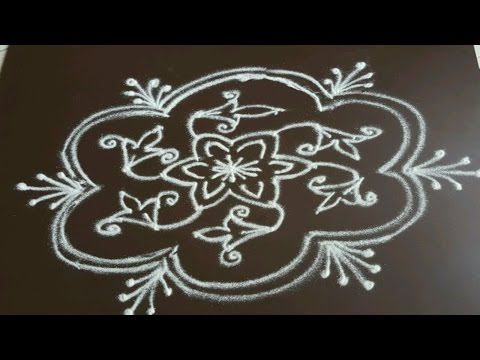 Simple Flower Kolam With Dots Flowers Healthy