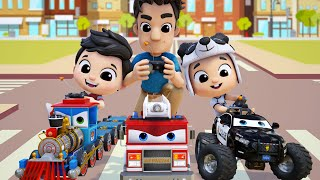 Fire Truck Song | Choo Choo Train Song | Baby Shark | Family Dance Song #appMink Nursery Rhymes