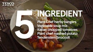 5-ingredient Vegan bangers and mash pie