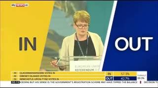 Sky News HD | UK EU Referendum First Result Sunderland