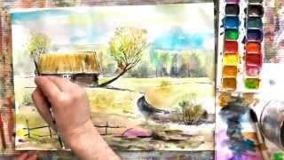Смотреть онлайн Как нарисовать весну акварелью поэтапно