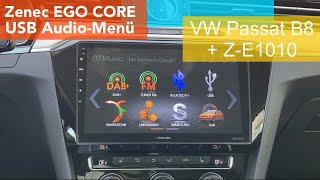 USB Medienmenü vom Zenec EGO Core im VW Passat B8 - Z-E1010 - Nachrüstung Multimedia Autoradio Navi