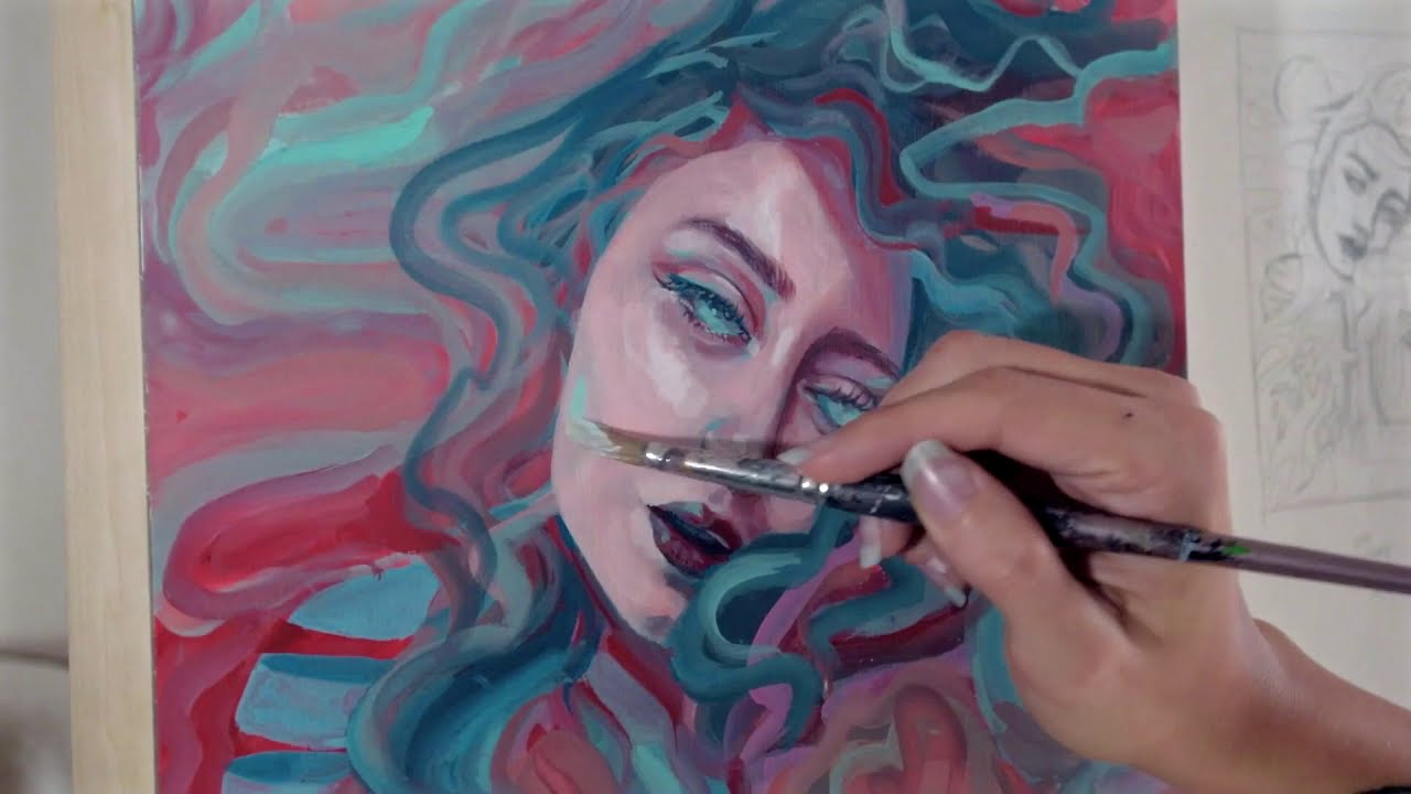 psychedelic gouache painting in time lapse by shumaker art