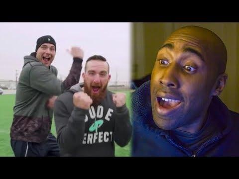 Football vs Soccer Trick Shots     (Dude Perfect Reaction) (видео)