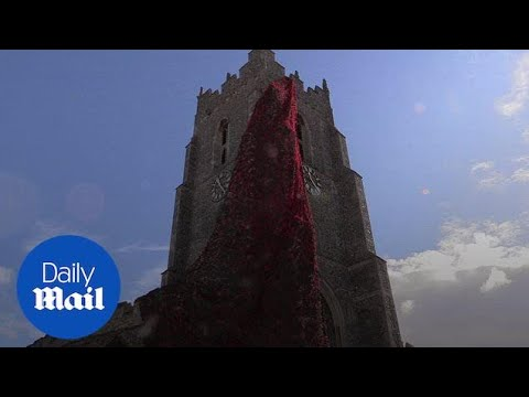 21,000 poppies adorn church tower for Armistice Day centenary
