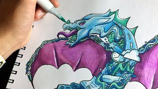 EPIC DRAGON DOODLE!! | Vexx Inspired Copic Doodle Illustration
