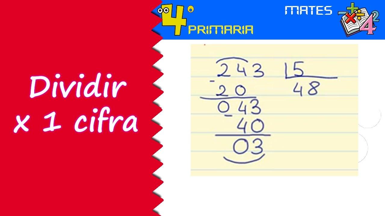 Matemáticas. 4º Primaria. Tema 4. División por una cifra