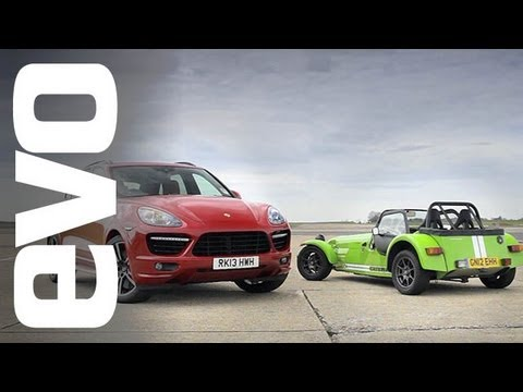 Porsche Cayenne vs Caterham 7 Track Battle