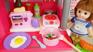 Baby doll kitchen car cooking food play baby Doli house