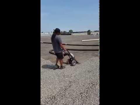 Roof Vacuum - Vacuuming Gravel From Commercial Roof Calgary, Alberta