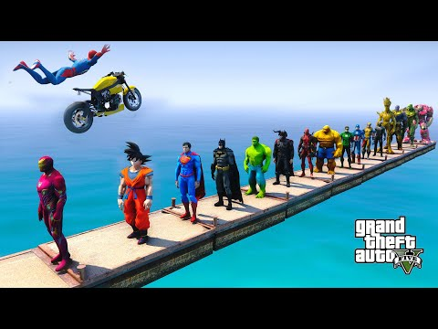 Download TEAM SPIDER-MAN Jump Over All Superheroes and Performing Motorcycle Stunts - GTA V MODS HD Mp4 3GP Video and MP3