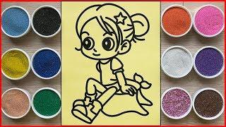 Đồ chơi TÔ MÀU TRANH CÁT BÚP BÊ CHIBI CÔ GÁI - Sand painting chibi doll toys (Chim Xinh)