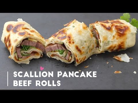 Taiwanese Scallion Pancake Beef Rolls (牛肉捲餅) | Appetizer Recipe