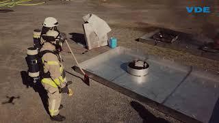 Feuerlöschtraining für Lithium-Ionen-Batterien