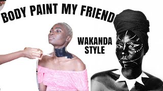 BLACK PANTHER BODY PAINTING (WAKANDA STYLE)