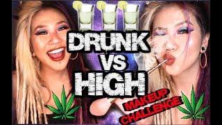 DRUNK VS HIGH MAKEUP CHALLENGE