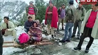 Hard life of Sirmouri villagers @Carrying women in snow