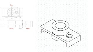 Isometric view drawing example 2. Links to practice files in description
