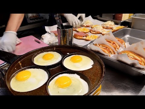 korean style egg fried cheese hamburger / korean street food
