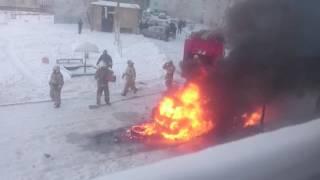 Попытка жителя Темиртау разогреть в мороз авто закончилась пожаром