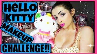FULL FACE USING ONLY HELLO KITTY MAKEUP Challenge | PiinkSparkles