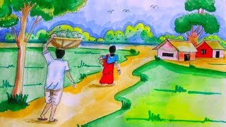 Village Scenery Drawing Tutorial With Human Figures