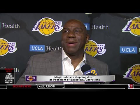 Magic Johnson STEPS DOWN as Lakers President | Full Interview - April 9, 2019