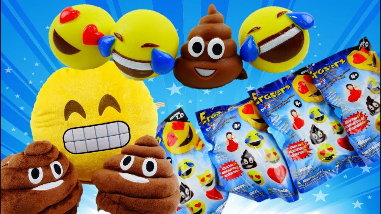 Giant POOP Slippers and Emoji Eraserz Blind Bags #plushmoji #poop