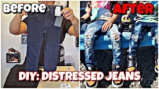 DIY: DISTRESSED DENIM JEANS EASY! *RIPPED JEANS*
