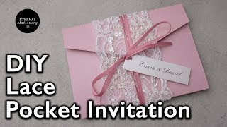 DIY Vintage Beaded Lace 4x6 Pocketfold Invitation | Wedding Invitations DIY